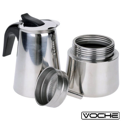 VOCHE® 6 CUP ESPRESSO COFFEE MAKER STAINLESS STEEL STOVETOP PERCOLATOR MOKA POT - tooltime.co.uk