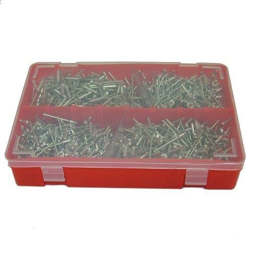 1000PC ALUMINIUM 3.2MM RIVETS PACK ASSORTED BLIND POP RIVETS + STORAGE CASE - tooltime.co.uk