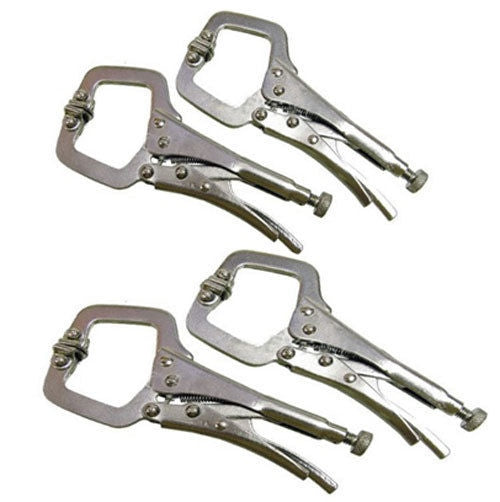 4PC MINI WELDING C CLAMPS MOLE VICE GRIP LOCKING PLIERS SHEET METAL PLIERS - tooltime.co.uk
