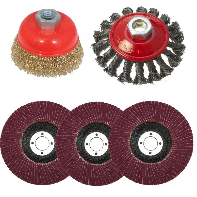 5pc Flap Disc Twist Knot Semi Flat Wire Wheel Cup Brush For 115mm Angle Grinder - tooltime.co.uk