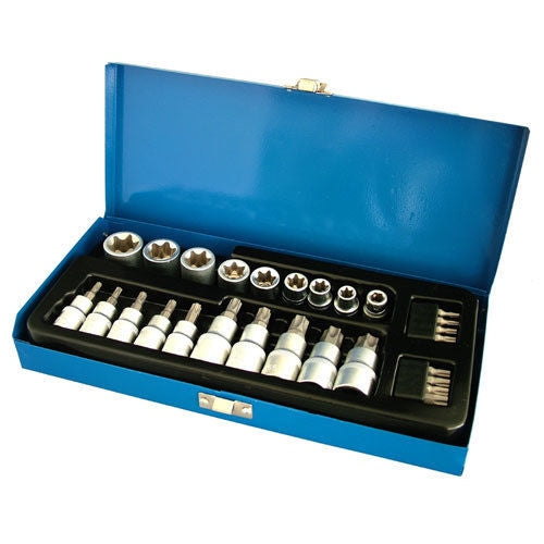 "27PC 1/2"" & 3/8"" DR STAR TORX SOCKET BITS SET CHROME VANADIUM E SOCKETS + CASE - tooltime.co.uk"