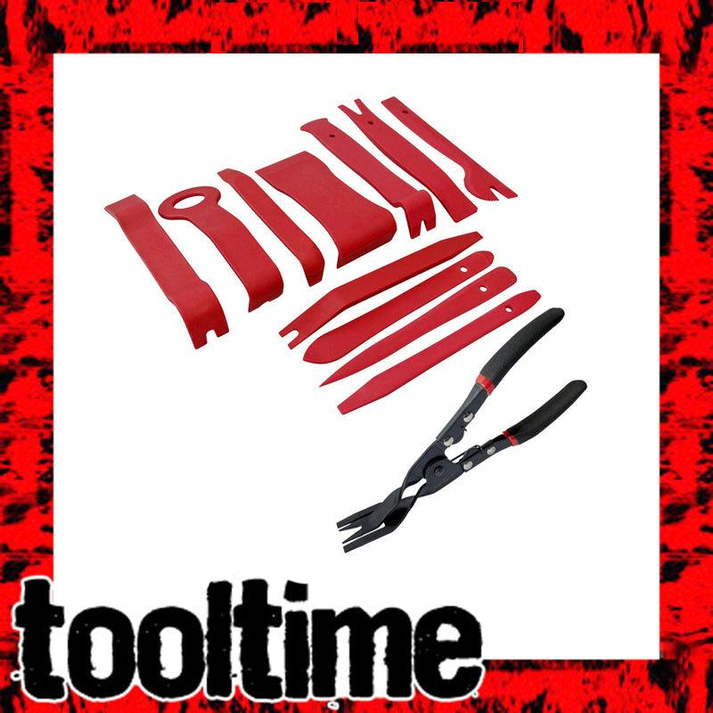 12PC CAR AUTO BODY DOOR PANEL MOULDING REMOVER TOOLS + TRIM CLIP REMOVAL PLIERS - tooltime.co.uk