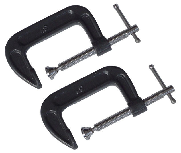 "2 PACK OF 75MM 3"" HEAVY DUTY G CLAMPS WOODWORK HAND CLAMP CLAMPING - tooltime.co.uk"