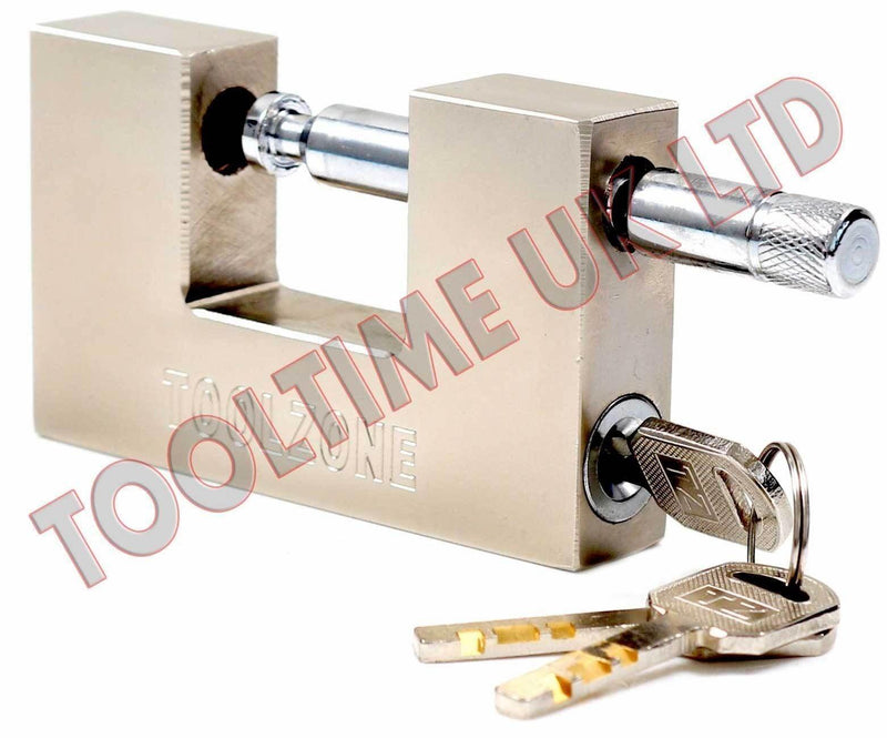 100MM HEAVY DUTY STEEL SHUTTER PADLOCK + 3 SECURITY KEYS SHOP CONTAINER LOCK - tooltime.co.uk