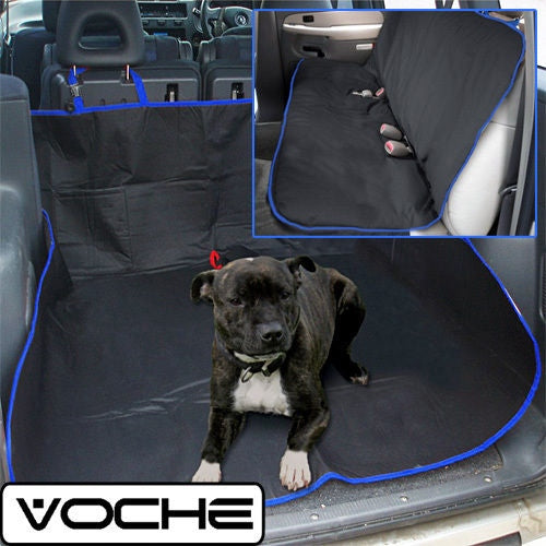 VOCHE BLACK BLUE 2in1 WATERPROOF CAR REAR BACK SEAT COVER PET PROTECTOR BOOT MAT - tooltime.co.uk