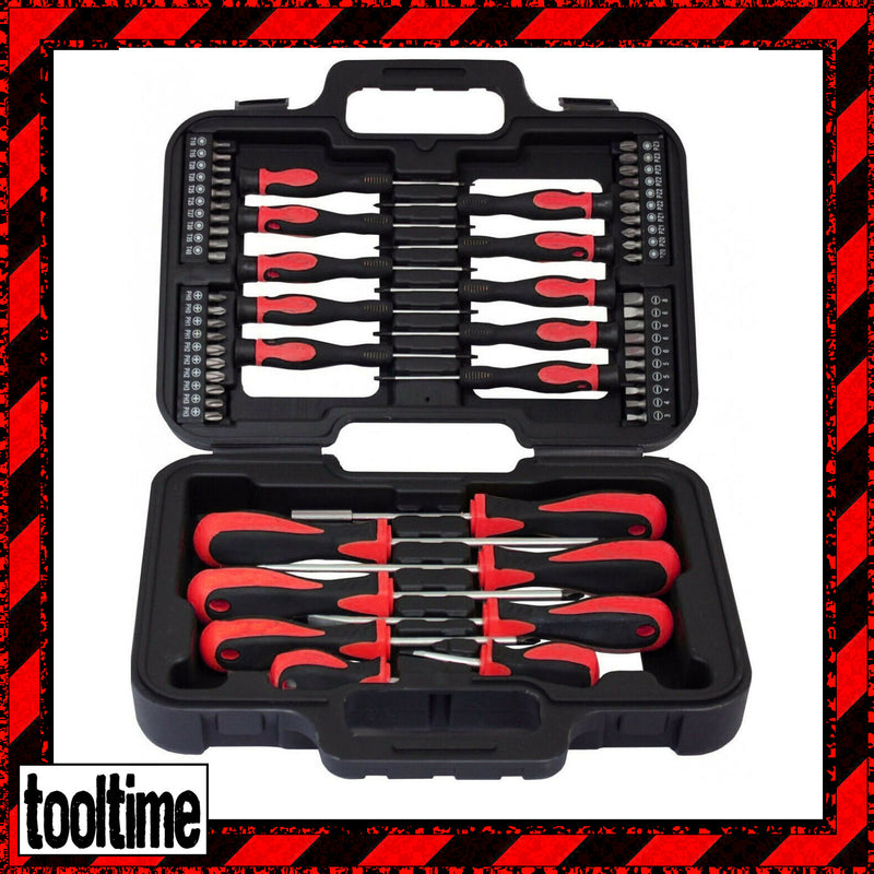 58 PIECE SCREWDRIVER BITS SET PHILIPS FLAT SLOTTED PRECISION TORX POZI & CASE - tooltime.co.uk