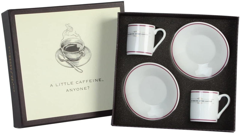 Emporium Collection Set of 2 China Espresso Cups & Saucers Gift Set - Life Begins after coffee ... A Little Caffine Anyone? - tooltime.co.uk