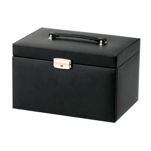 MELE & CO. BLACK BONDED LEATHER JEWELLERY BOX WITH TRAVEL CASE & JEWEL ROLL-tooltime.co.uk