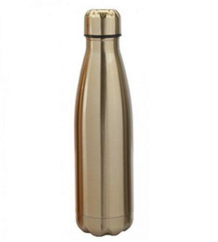 STAINLESS STEEL DOUBLE WALL DRINKING BOTTLE 500ML - GOLD SPORTS CAMPING LEISURE - tooltime.co.uk