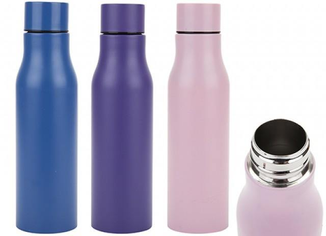 STAINLESS STEEL 500ML VACUUM INSULATED BOTTLE MATTE PURPLE GYM CAMPING LEISURE - tooltime.co.uk