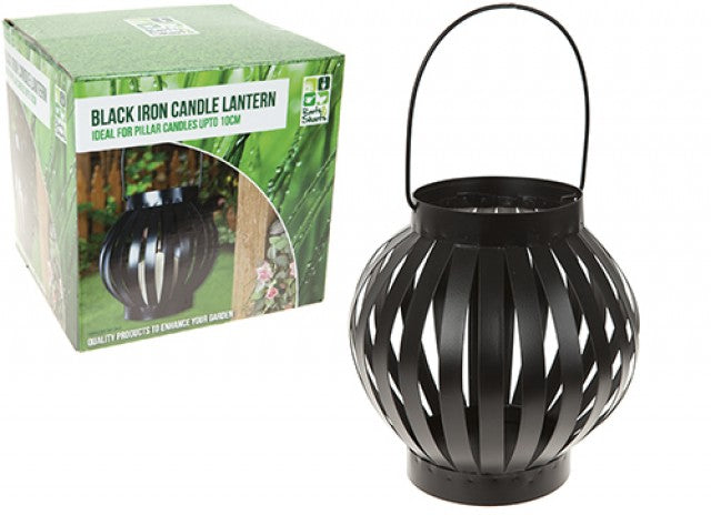 ROUND METAL HANGING CANDLE LANTERN OUTDOOR USE BLACK IRON EFFECT - tooltime.co.uk