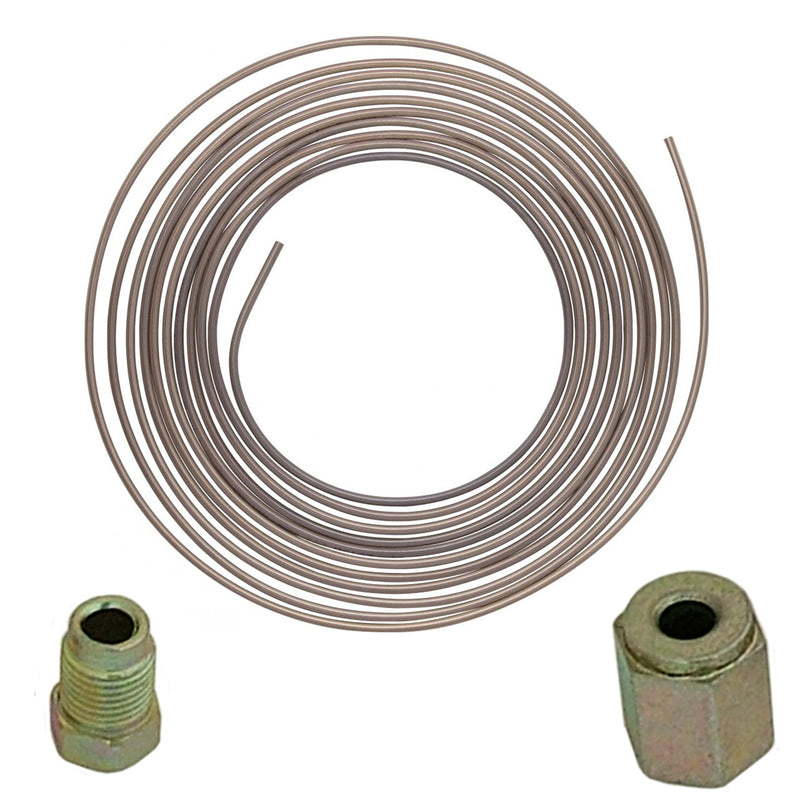 "3/16""  X 25 FOOT CUPRO NICKEL FUEL BRAKE PIPE 25ft  + 20 MALE FEMALE UNION NUTS - tooltime.co.uk"