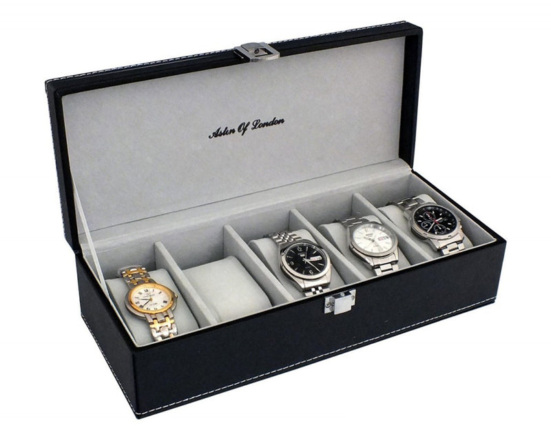 ASL MENS BLACK PU LEATHER 5 WATCH STORAGE BOX + GREY INTERIOR-tooltime.co.uk