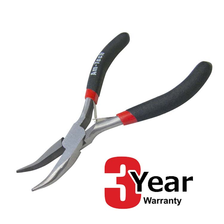 AMTECH MINI NEEDLE NOSE SIDE BENT PLIERS SMALL HAND DIY TOOL - 3 YEAR WARRANTY-tooltime.co.uk