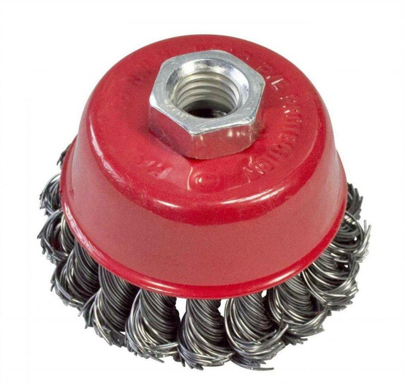 "3 X 100MM 4"" TWIST KNOT WIRE CUP BRUSH FOR ANGLE GRINDERS REMOVE PAINT RUST FAST - tooltime.co.uk"