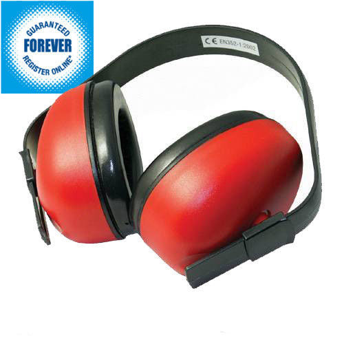 SILVERLINE EAR DEFENDERS SNR 27DB COMFORTABLE PROTECTION SAFETY MUFFS RED 633815 - tooltime.co.uk