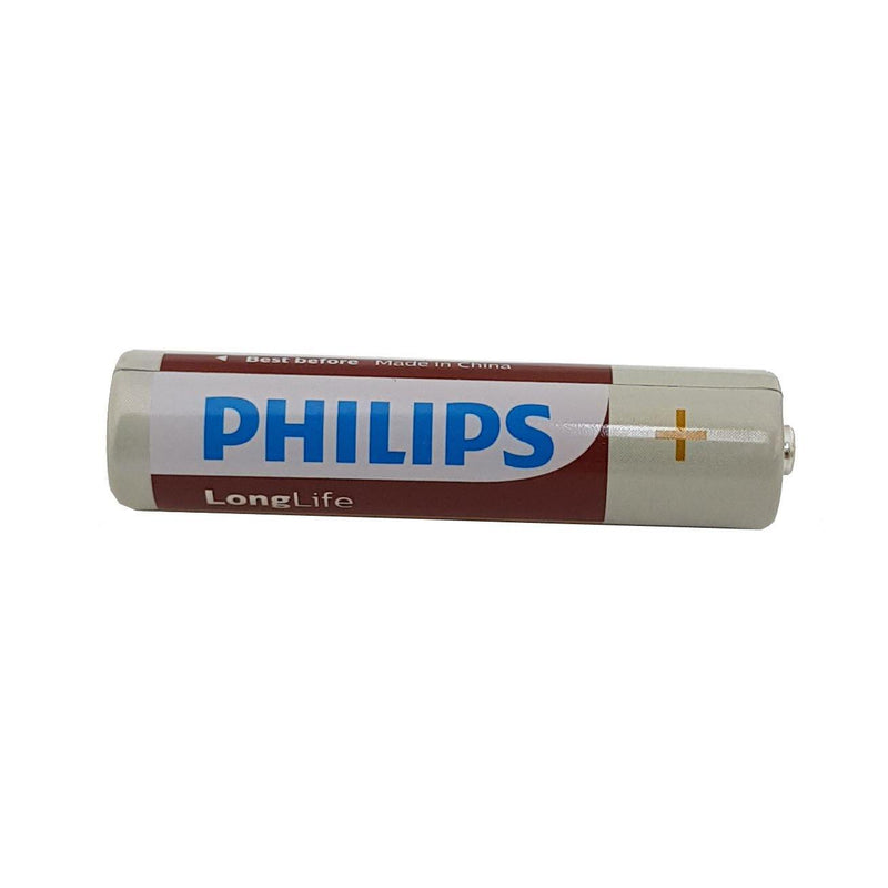 4 X 1.5V AAA PHILIPS LONG LIFE ZINC BATTERIES LEAD & MERCURY FREE EXPIRY 06-2022-tooltime.co.uk