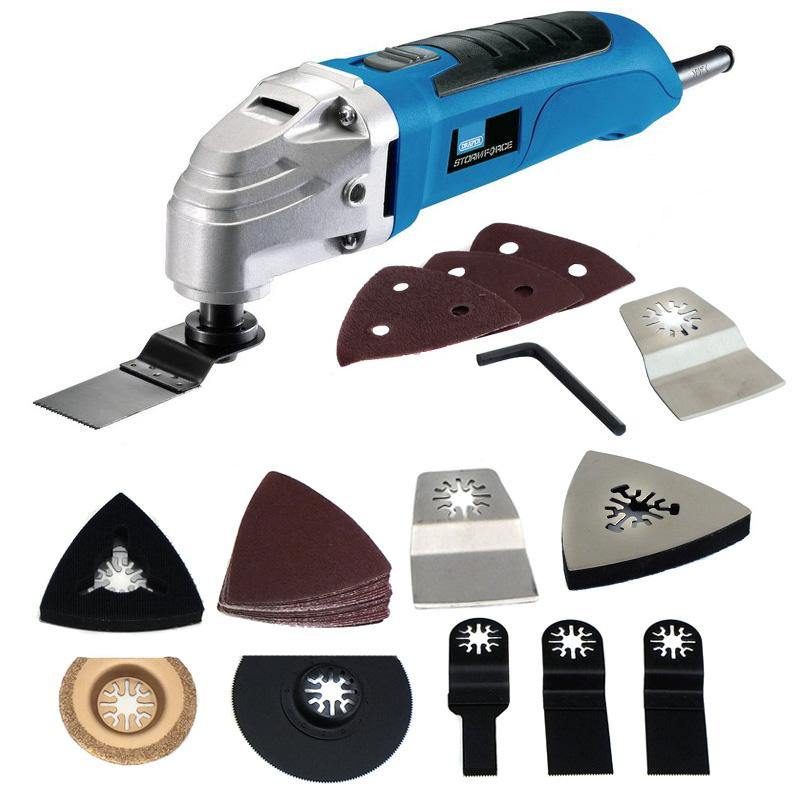 DRAPER 300W OSCILLATING MULTI FUNCTION POWER TOOL SANDER & 34PC ACCESSORY SET - tooltime.co.uk