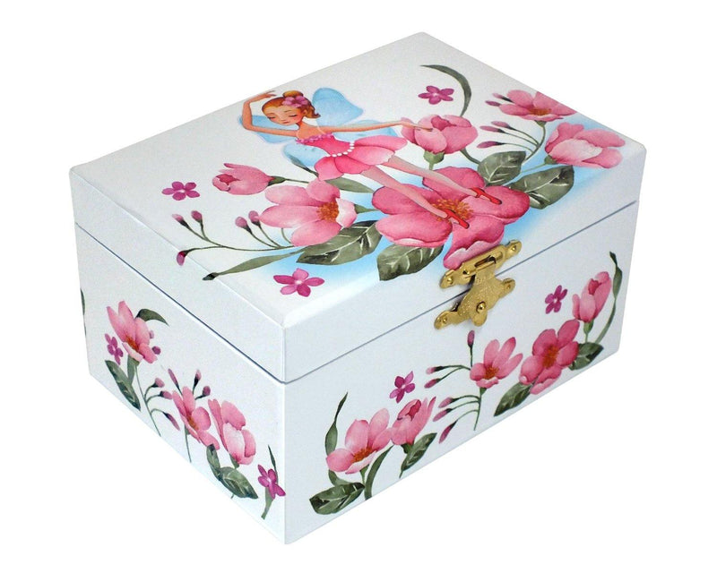 CHILDS PINK FAIRY & FLOWERS MUSICAL JEWELLERY AND TRINKET BOX ROTATING BALLERINA - tooltime.co.uk