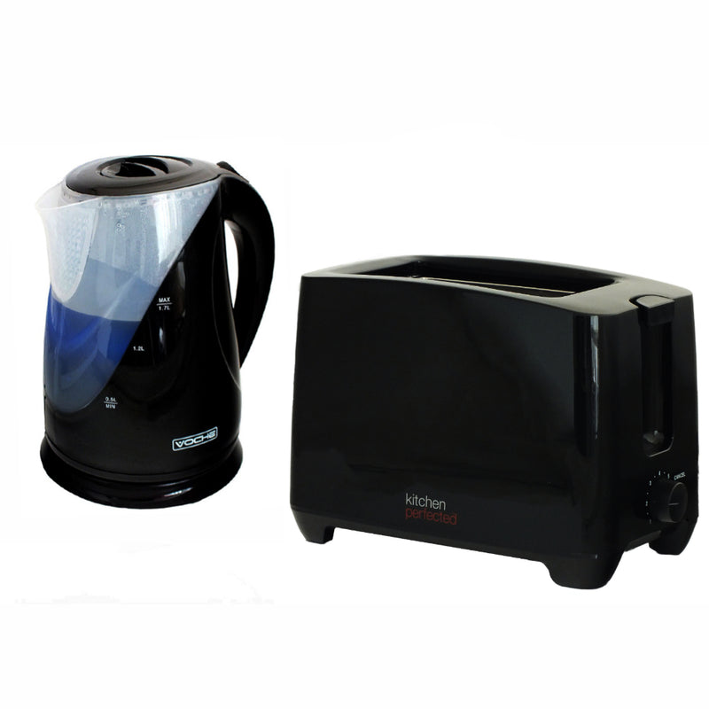 GLOSS BLACK 1.7 LITRE CORDLESS 2200W ELECTRIC JUG KETTLE & 750W 2 SLICE TOASTER - tooltime.co.uk