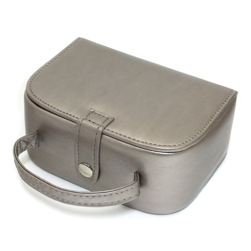 METALLIC MINK FAUX LEATHER HANDBAG STYLE JEWELLERY BOX JEWELRY TRAVEL BAG CASE-tooltime.co.uk