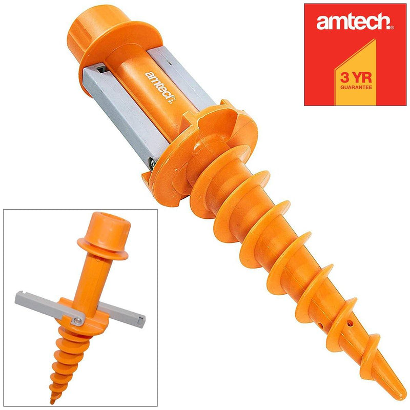 AMTECH® OUTDOOR SCREW-IN SOIL SAND GROUND ANCHOR GARDEN PARASOL SUNSHADE GAZEBO-tooltime.co.uk