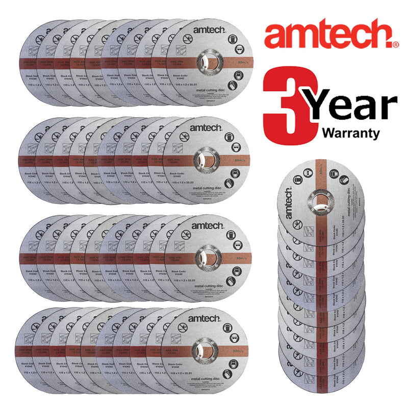 50 X AM-TECH 1.2MM X 115MM THIN METAL ANGLE GRINDER CUTTING DISCS 3 YR WARRANTY-tooltime.co.uk