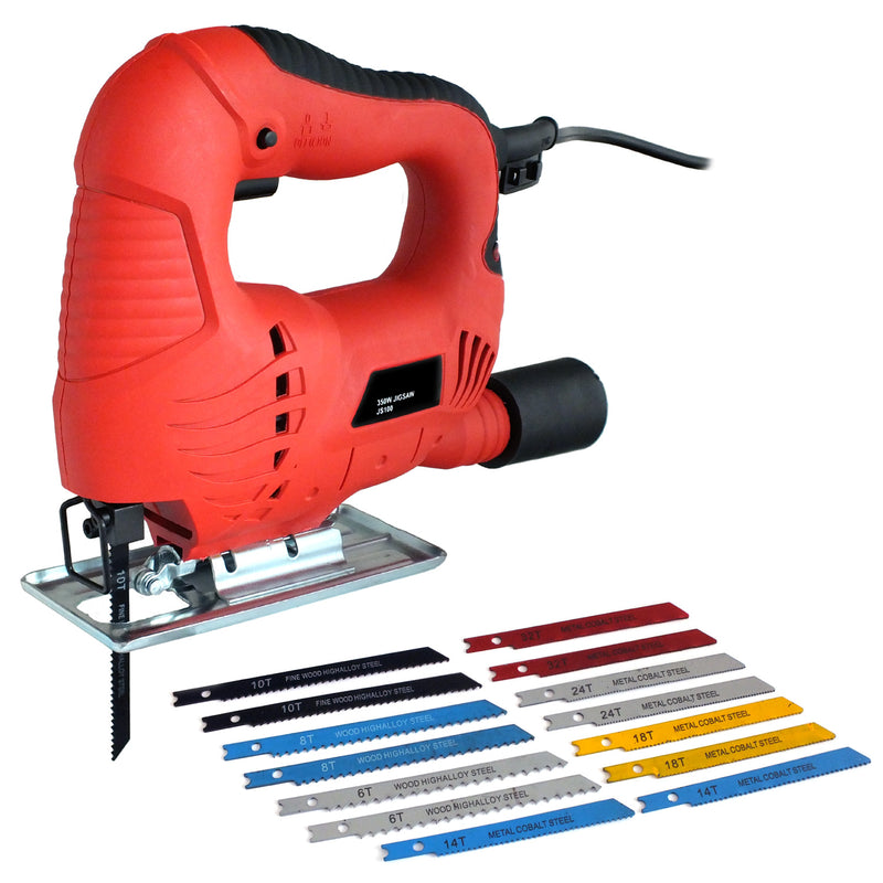VOCHE 350W ELECTRIC JIGSAW + 14 ASSORTED WOOD METAL PLASTIC BLADES - INC COBALT-tooltime.co.uk