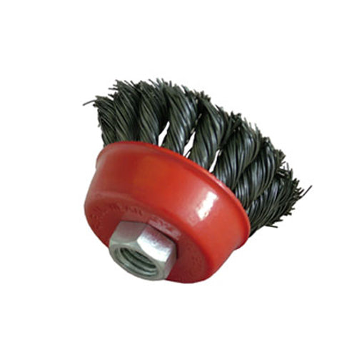 "6 PACK OF 100MM 4"" TWIST KNOT WIRE CUP BRUSH SET KIT FOR M14 ANGLE GRINDER - tooltime.co.uk"