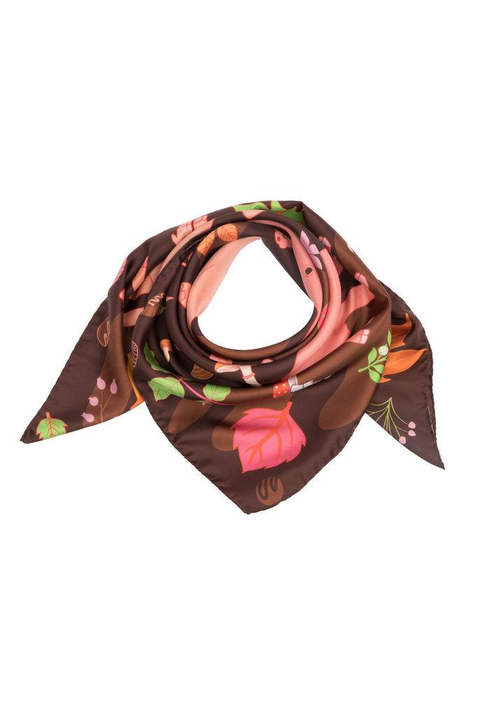 Treasure Hunt silk scarf in chocolate