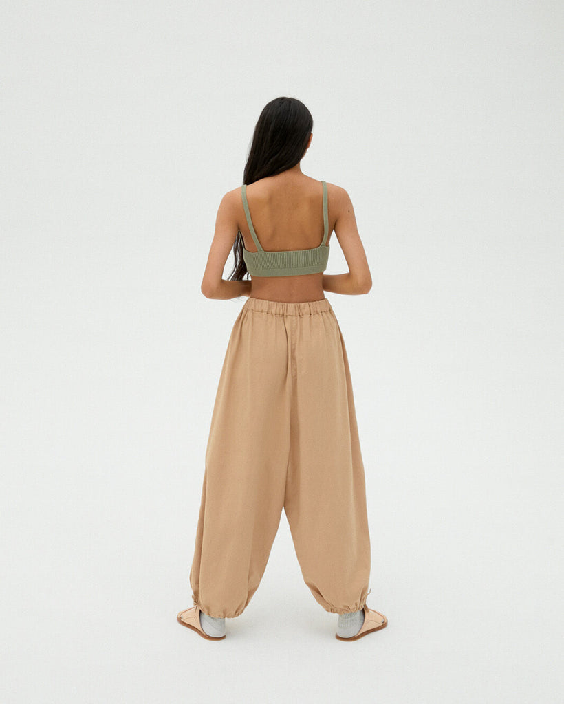 CAMEL LIGHT COTTON PANTS