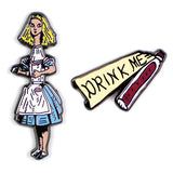 "ALICE AND ""DRINK ME"" BOTTLE PIN"