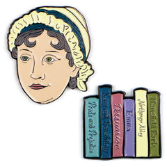 JANE AUSTEN AND BOOKS PINS