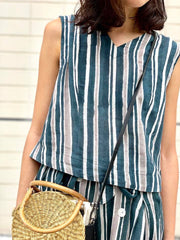 Stripes Top in dark green