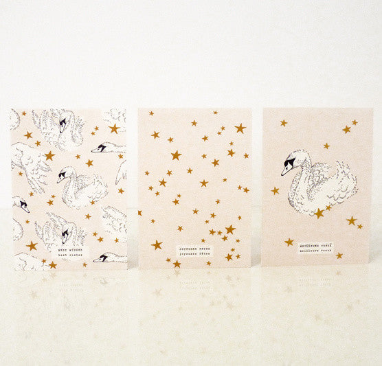 """Swan in the Stars"" Pack of 3 Greeting Cards"