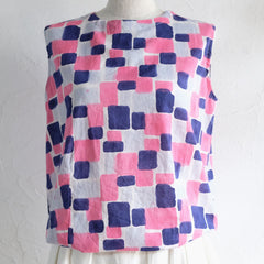 Cube Cotton Tank in Pink