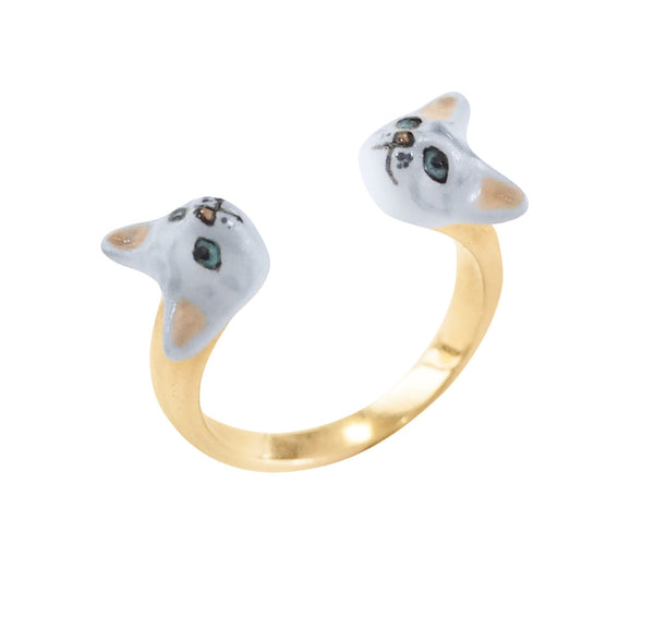 Grey Cat Face to Face Ring