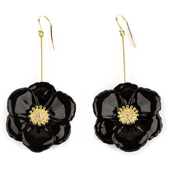 "BIG BLACK FLOWER EARRINGS - ""NATURE MORTE"""