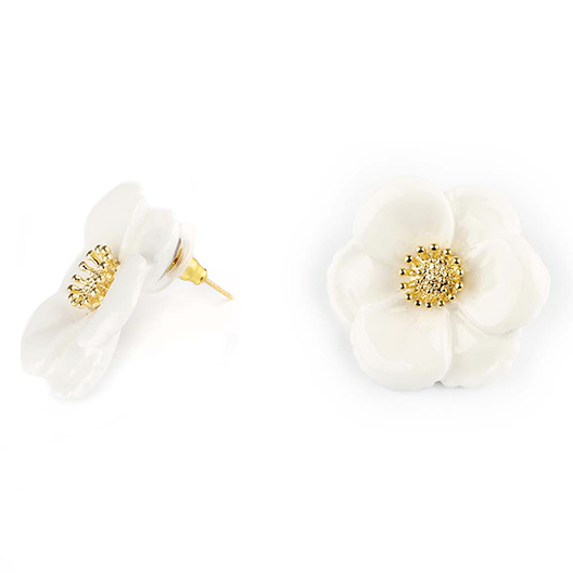 "BIG WHITE FLOWER STUD EARRINGS - ""NATURE MORTE"""