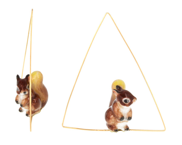 Squirrel Triangle Ceroles Earrings