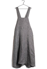 Mafalda Apron Dress in Black Linen (Women)