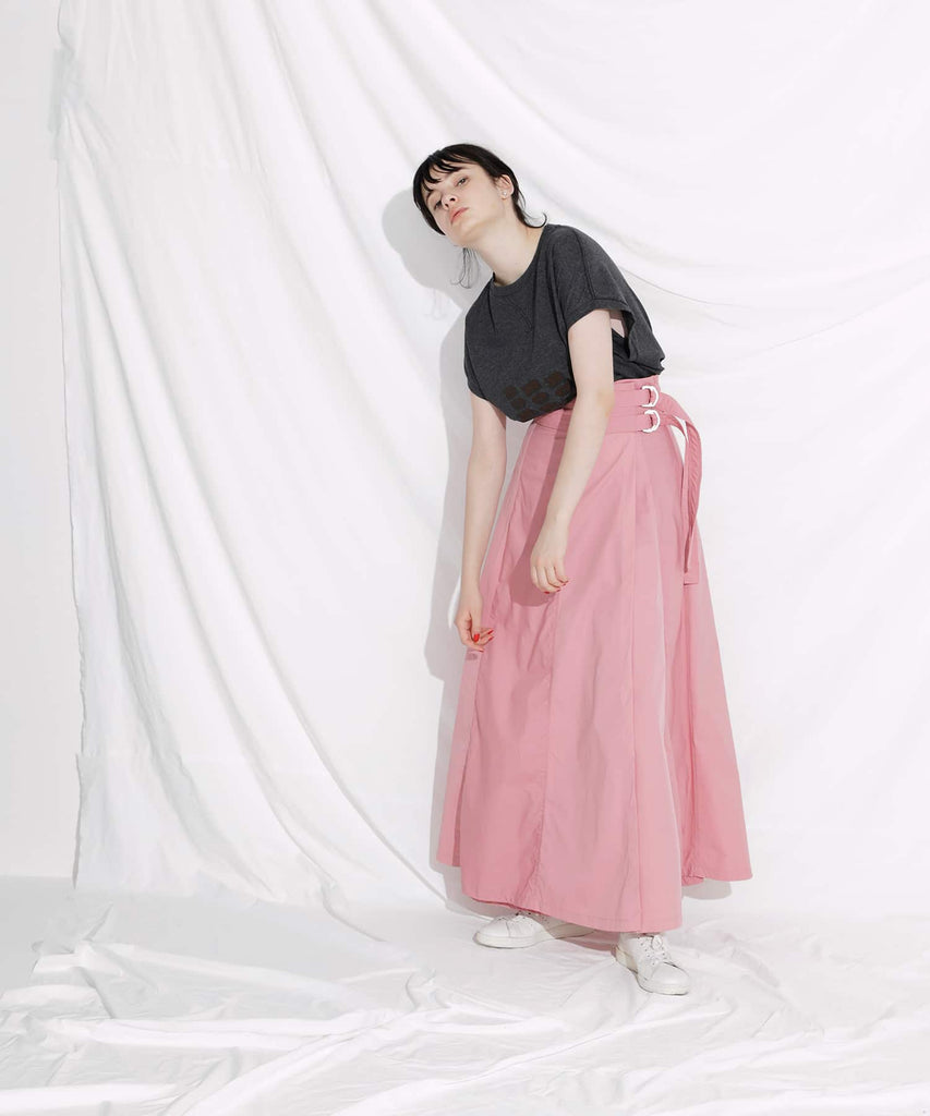 SWITCHED WRAP LONG SKIRT in Pink