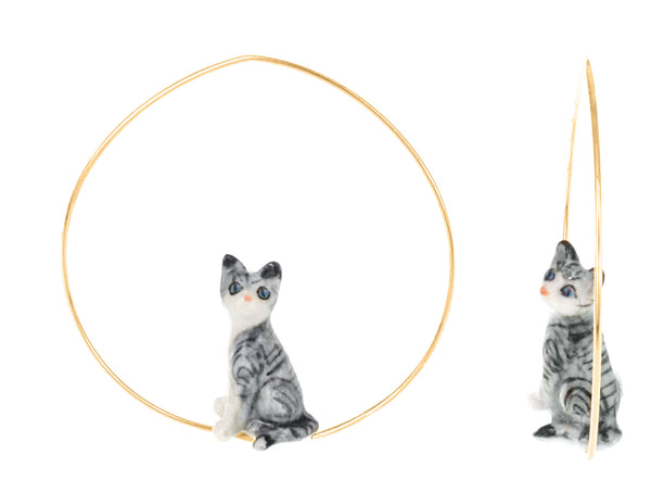 Mini Grey Cat Earrings