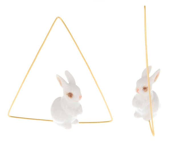 White Rabbit Triangle Ceroles Earrings