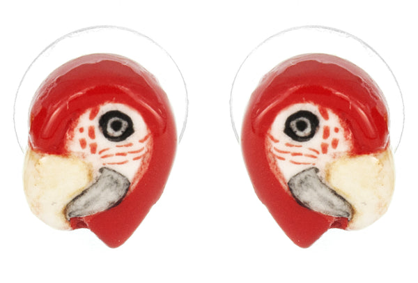 Mini Red Parrot Earrings