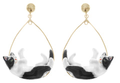 Black & White Playing Cats Hoop Earrings