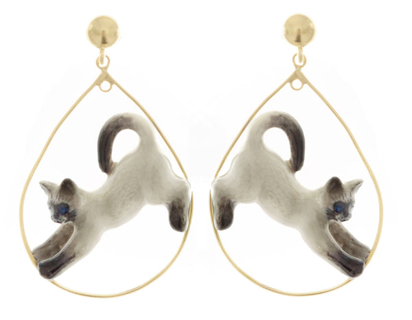 Siamese Stretching Cat Hoop Earrings