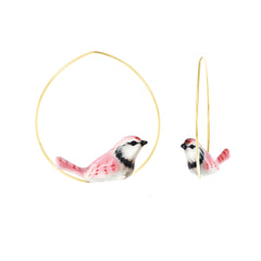 Pink Jay Birds Hoops Earrings