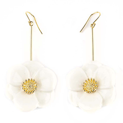 "BIG WHITE FLOWER EARRINGS - ""NATURE MORTE"""