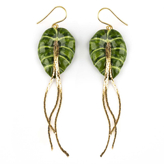 "BIG GREEN LEAVE ELEPHANT EAR EARRINGS - ""NATURE MORTE"""